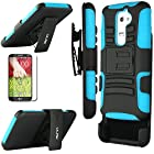 LG G2 Case, ULAK Rugged Hybrid Impact Hard Rubber Cover Case for LG G2 With Belt Swivel Clip Holster + Screen Protector and Stylus(AT&T D800, T-Mobile D801,Global D802 )-Blue