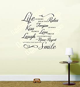 life is short break the rules wall art quote vinyl wall