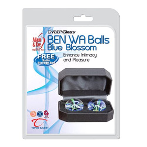 Adam & Eve Blue Blossoms Glass Ben Wa Balls (Adam And Eve Bullet compare prices)