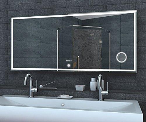 Fine line specchio con LED, specchio, Touch interruttore, orologio, 160 x 60 cm Alluminiumrahmen