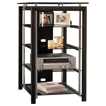 Bush Furniture Midnight Mist Audio Rack 3 Fixed Shelves