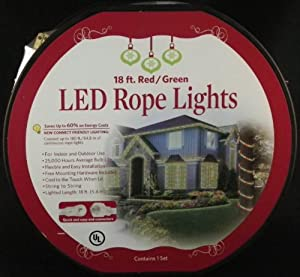 18 ft Red & Green LED Rope Christmas Lights