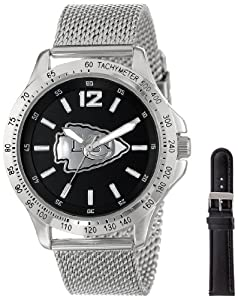 Game Time Mens NFL-CAG-KC Cage NFL Series Kansas City Chiefs 3-Hand Analog Watch by Game Time