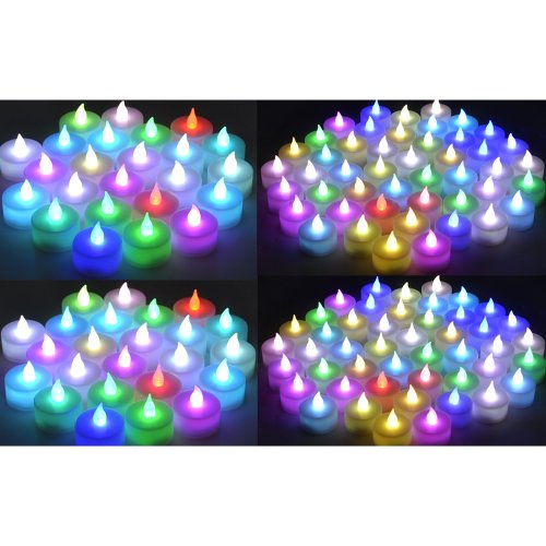 Instapark® LCL-C144 Battery-powered Flameless Color-changing LED Tealight Candles, 12-Dozen Pack