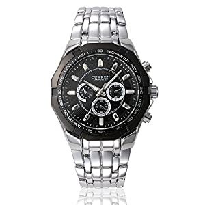 GOHUOS Men's Sport Outdoors Quartz Analog Stainless Steel Band Dress Wrist Watch Silver Black