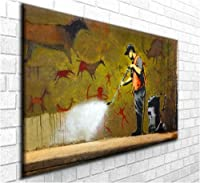 """Banksy Graffiti Art Canvas Print 'Cave Painting' Stunning Canvas Art Print Wall Art - Framed Ready to Hang in your home interior (30"""" x 20"""") from Dartmoor Prints and Gifts"""