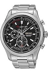 SEIKO SPC127P1,Men's Alarm Chronograph Perpetual Calendar,Stainless Steel Case,Black Dial,100m WR,SPC127