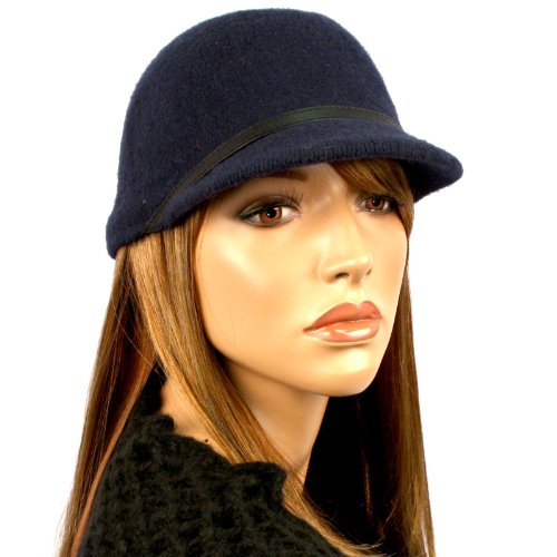 100% Wool Winter Center Divot Dent Cadet Military Cabby Driver Cap Hat Navy Blue