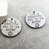 3pc Antique Silver SOBER Recovery Jewelry Charms- Addiction Rehab Findings 20mm