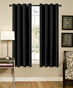 Solid Black Grommet Top Thermal Insulated Blackout Window Curtain 108