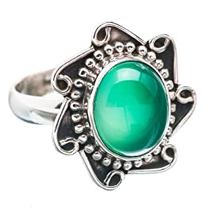 Amazon.com: Ana Silver Co Green Onyx 925 Sterling Silver Ring Size 8