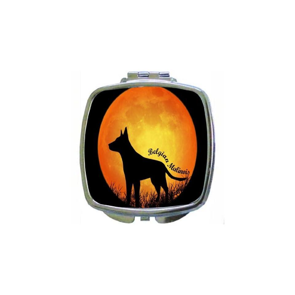Rikki KnightTM Belgian Malinois Dog Silhouette By Moon Design Compact Mirror  Personal Makeup Mirrors  Beauty