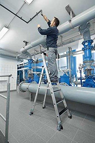 Aluminium-Stehleiter-clip-step-einseitig-begehbar-mit-Rollen-3-Stufen-41903