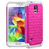 Fosmon HYBO-SD Diamond Star Design Hybrid Case for Samsung Galaxy S5 (Pink / White Bumper)
