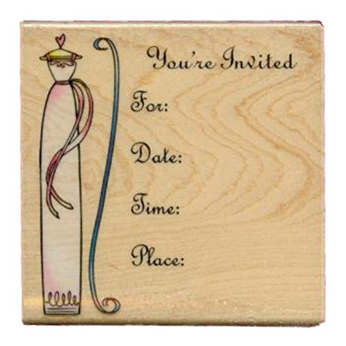Invitation Rubber Stamp on 3 ¼ Inch Square Block