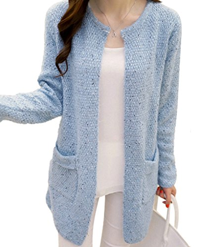 Minetom Donna Knit Cardigan Maniche Lunghe Jumper Outwear Maglia Jacket Sweatshirt Tops con Tasca Cielo blu IT 44