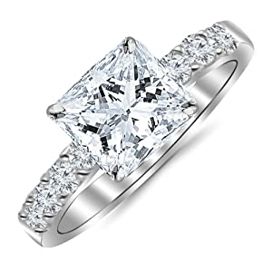 1.10 Carat Princess Cut/Shape 14K White Gold Classic Prong Set Diamond Engagement Ring with a 0.60 cwt, I-J Color, Eye Clean Clarity Center Stone from Houston Diamond District
