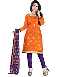 Yehii Top 10 Collection Embroidered Orange Chanderi Unstitched Branded Dress Materials With Dupatta for Ladies party Wear Low Price Best Seller Offers
