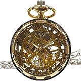 [モノジー] MONOZY アンティーク 手巻き 機械式 懐中時計 ギアケース 【選べる色】 両面 スケルトン 【収納袋、化粧箱】 レトロ 懐中時計 (1) ゴールド)