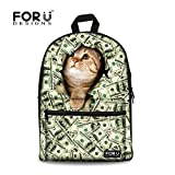 FOR U DESIGNS Fashion Cool Green Cat Dollar Print Casual Campus School...