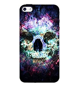 PrintDhaba Skull D-4882 Back Case Cover for APPLE IPHONE 4S (Multi-Coloured)