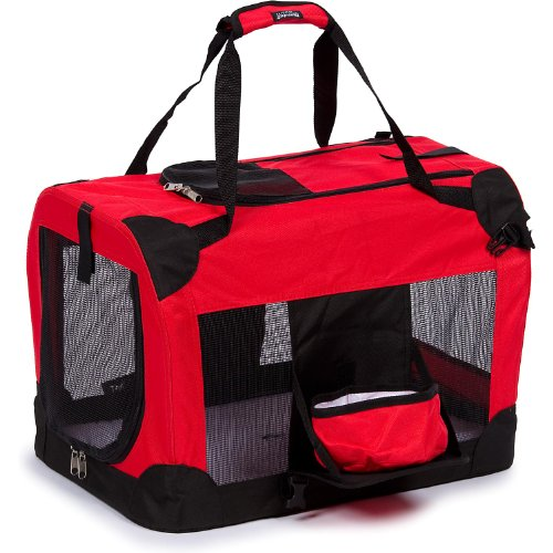 Pet Life Folding Deluxe 360 Vista View House Carrier In Red - Medium front-49119