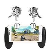 FairySu 4-Click Metal PUBG Mobile Controller Portable Gamepad L1 R1 Trigger Aim L1R1 Shooter Phone Game Fire Button (Transparent) (Color: Transparent)