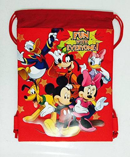 Disney Mickey Minnie & Friends Drawstring Backpack - Red Drawstring Bag - 1