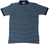 GOTS Certified 100% Organic Cotton Short Sleeve Men's Polo Shirt (XL, blue striped)