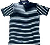 GOTS Certified 100% Organic Cotton Short Sleeve Men's Polo Shirt (XL, blue striped)