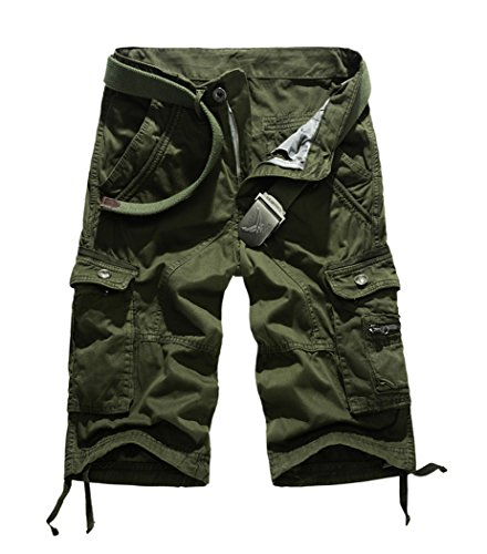 Lega Mens Summer Loose Fit Twill Beach Wear Flat-front Cargo Shorts(Army Green/34) Cargo Climbing Shorts