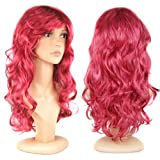 SODIAL(TM) Long Wavy Curly Fake Hair Wig/Wigs for Cosplay Party Fancy Dress(Wine Red)
