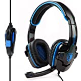 Sades Stereo Headset Headband SA-708 Pro Game Earphone Bass Headphones with Microphone For PC Laptop Mobile (Blue)