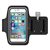 iPhone 6S Armband, iPhone 6 Armband, Trianium ArmTrek Sports Exercise Armband for Apple iPhone 6 6S Running Pouch Touch Compatible Key Holder [Black] [Lifetime Warranty] Good For hiking,Biking,Walking
