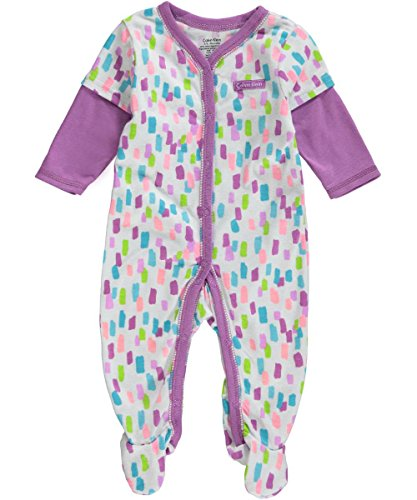 Calvin Klein Baby-Girls Newborn Twofer Printed Coverall, Purple, 3-6 Months