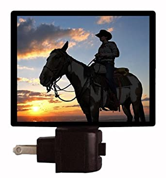 Country Night Light - Cowboy Silhouette - Cowboy on Horse at Sunset