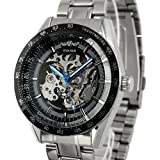 ESS Mens Black Bezel Skeleton Stainless Steel Automatic Wrist Watch WM174