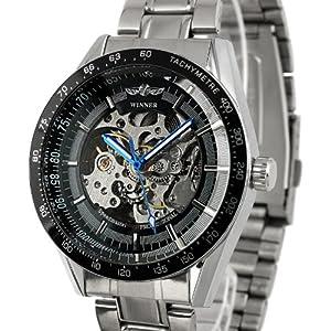 ESS Men's Black Bezel Skeleton Stainless Steel Automatic Wrist Watch WM174