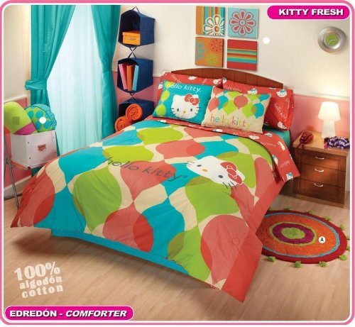 Hello Kitty Orange Comforter Bedding Set Twin 6pc