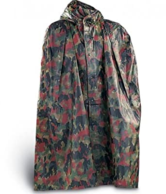 Swiss Military Camo Bad Weather Rain Poncho New by EarthTrekGear