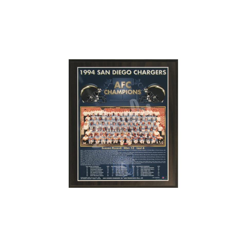 1994 San Diego Chargers NFL Football AFC Championship 11x13 Plaque
