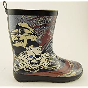 Boys Skulls Bones Pirate Wellies Wellington Boots 10-2