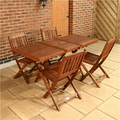 BillyOh Elegance 1.6m Rectangular Folding and Extending 4 Seater Wooden Garden Furniture Set