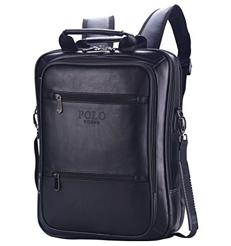VIDENG POLO® Classic Vintage Genuine Leather RFID Blocking Secure Cross body Briefcase Business Laptop Messenger Shoulder Backpack Bag for 13 15 17 inch Macbook Laptop(S6-black) (Classic Leather Briefcase compare prices)