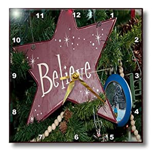 3dRose dpp_52617_1 An Ornament on a Christmas Tree That Says Believe and White Pearls Strung Close by Wall Clock, 10 by 10-Inch