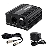 Ohuhu 1- Channel 48V Phantom Power Supply with Adapter, BONUS XLR Extension Cable