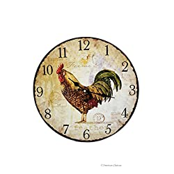 13.25 Large Vintage-Style Country Kitchen Rooster Bistro Wood Wall Clock