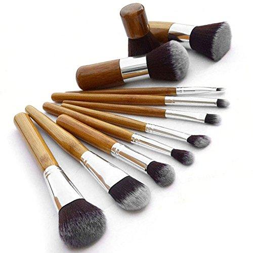 Yihya 11 Pcs Professionale Fondazione Polvere Pennello da Trucco Spazzole Kit Sopracciglio Ombra Lip Blush Pennelli Cosmetico Make Up Brushes Kit Manico in Legno set con il Sacchetto -