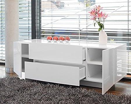 SalesFever Celine–Aparador (con 2puertas y 2cajones, color blanco brillante