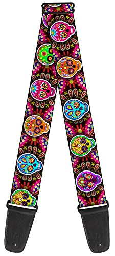 Thaneeya Sugar Skulls Nylon Guitar Strap - Colorful Color Skulls W/ Flower Background Repeating